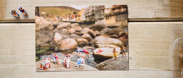 Postkarte Kleine Badende, Badekult, Limmatquelle Baden