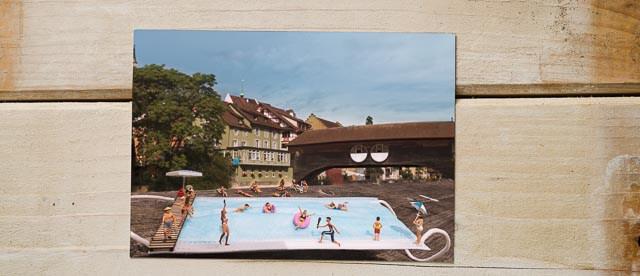 Postkarte Thermalbank, Thermalbänkli Baden