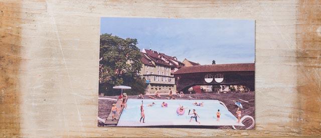 Postkarte Atemmaske Baden lustige Poskarte