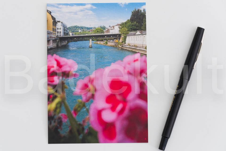 Postkarte Schiefe Brücke Baden